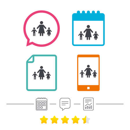 One-parent family with two children sign icon. Mother with son and daughter symbol. Calendar, chat speech bubble and report linear icons. Star vote ranking. Vector