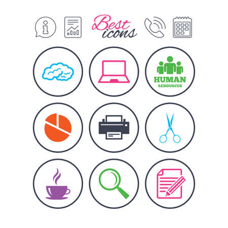 Information, report and calendar signs. Office, documents and business icons. Human resources, notebook and printer signs. Scissors, magnifier and coffee symbols. Phone call symbol. Vector Ilustrace