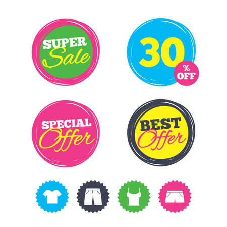 Super sale and best offer stickers. Clothes icons. T-shirt and bermuda shorts signs. Swimming trunks symbol. Shopping labels. Vector Illustration