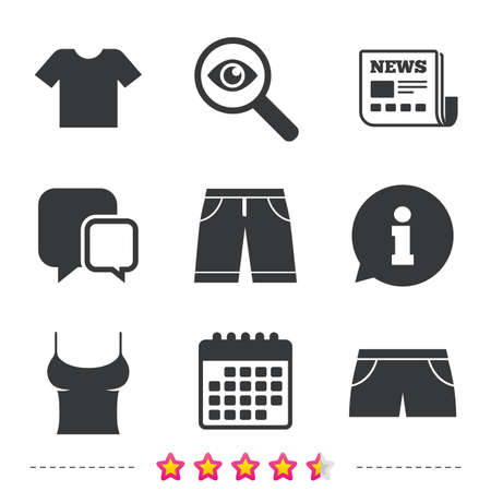 Clothes icons. T-shirt and bermuda shorts signs. Swimming trunks symbol. Newspaper, information and calendar icons. Investigate magnifier, chat symbol. Vector