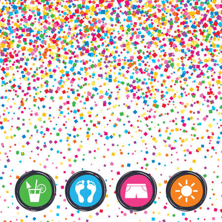 Web buttons on background of confetti. Beach holidays icons. Cocktail, human footprints and swimming trunks signs. Summer sun symbol. Bright stylish design. Vector
