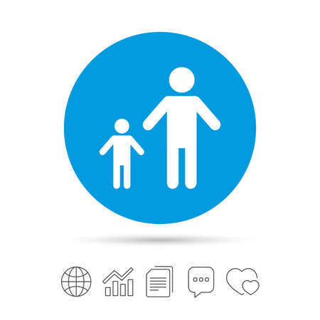 One-parent family with one child sign icon. Father with son symbol. Copy files, chat speech bubble and chart web icons. Vector