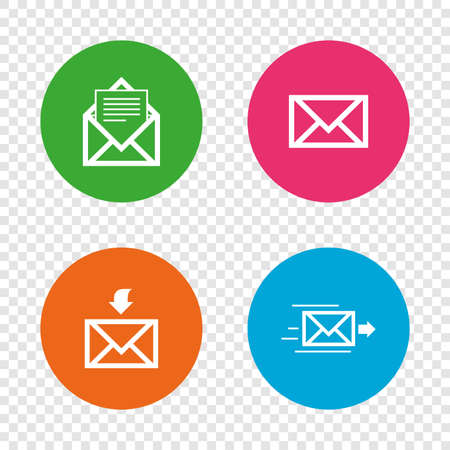 Mail envelope icons. Message document delivery symbol. Post office letter signs. Inbox and outbox message icons. Round buttons on transparent background. Vector Illustration
