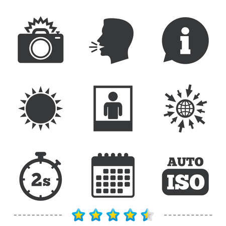 Photo camera icon. Flash light and Auto ISO symbols. Stopwatch timer 2 seconds sign. Human portrait photo frame. Information, go to web and calendar icons. Sun and loud speak symbol. Vector Illustration
