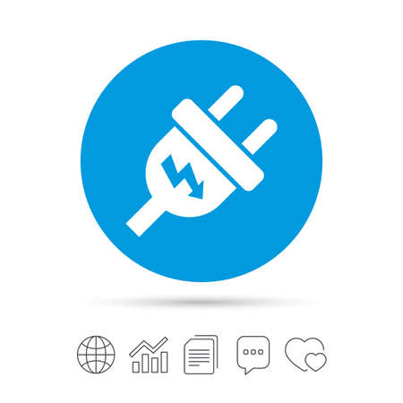 Electric plug sign icon. Power energy symbol. Lightning sign. Copy files, chat speech bubble and chart web icons. Vector Illustration