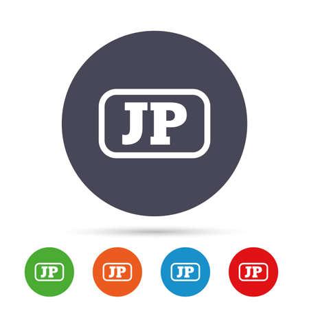 Japanse taal teken pictogram. JP Japan-vertaalsymbool met frame. Ronde kleurrijke knoppen met plat pictogrammen. Vector