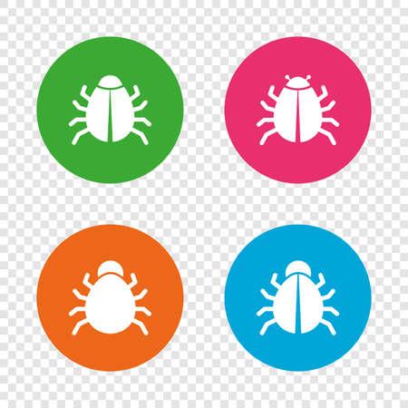 Icônes de vaccination de bogues. Symboles de signe d'erreur de logiciel de virus. Boutons ronds sur fond transparent. Vecteur Banque d'images - 79789531