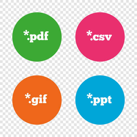 Document icons. File extensions symbols. PDF, GIF, CSV and PPT presentation signs. Round buttons on transparent background. Vector Illustration