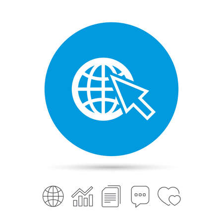 Internet sign icon. World wide web symbol. Cursor pointer. Copy files, chat speech bubble and chart web icons. Vector Illustration