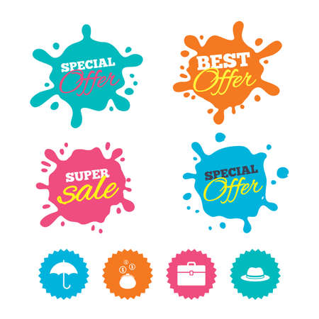 Best offer and sale splash banners. Clothing accessories icons. Umbrella and headdress hat signs. Wallet with cash coins, business case symbols. Web shopping labels. Vector Иллюстрация