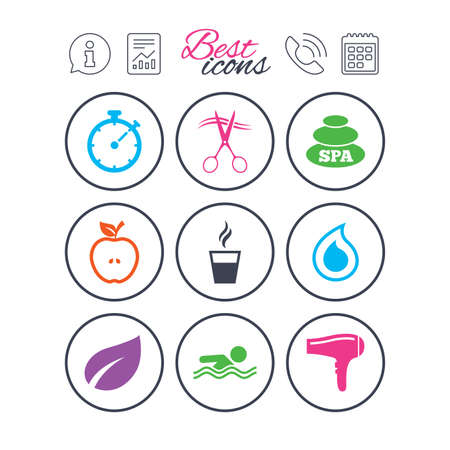 Information, report and calendar signs. Spa, hairdressing icons. Swimming pool sign. Water drop, scissors and hairdryer symbols. Phone call symbol. Classic simple flat web icons. Vector