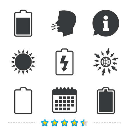 Battery charging icons. Electricity signs symbols. Charge levels: full, empty. Information, go to web and calendar icons. Sun and loud speak symbol. Vector Illusztráció