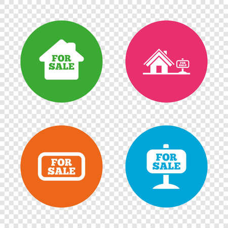 For sale icons. Real estate selling signs. Home house symbol. Round buttons on transparent background. Vector Stock Vector - 79789574