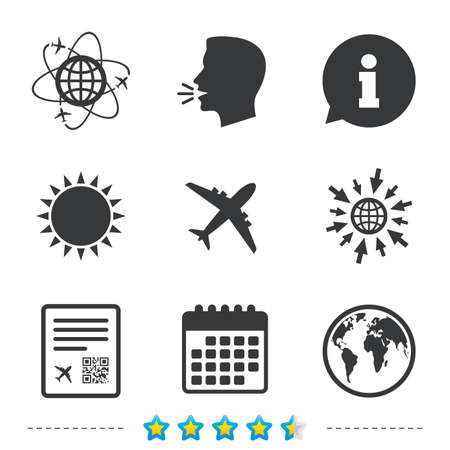 Airplane icons. World globe symbol. Boarding pass flight sign. Airport ticket with QR code. Information, go to web and calendar icons. Sun and loud speak symbol. Vector