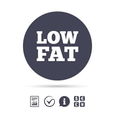 低脂肪署名アイコン。塩、砂糖食品のシンボル。ドキュメント、情報をレポートし、目盛りのアイコンをチェックします。外貨両替。ベクトル  イラスト・ベクター素材