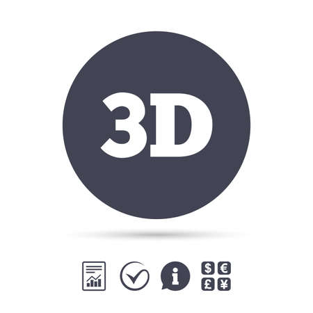 3D sign icon. 3D New technology symbol. Report document, information and check tick icons. Currency exchange. Vector