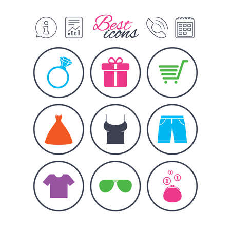Information, report and calendar signs. Clothes, accessories icons. T-shirt, sunglasses signs. Wedding dress and ring symbols. Phone call symbol. Classic simple flat web icons. Vector