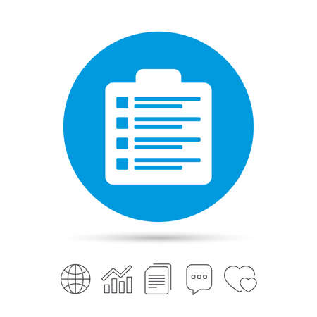 Checklist sign icon. Control list symbol. Survey poll or questionnaire form. Copy files, chat speech bubble and chart web icons. Vector Çizim
