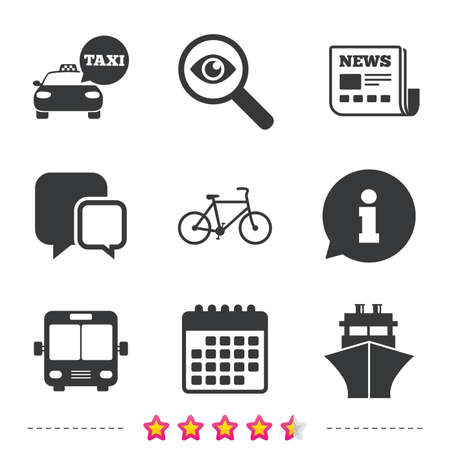 Transport icons. Taxi car, Bicycle, Public bus and Ship signs. Shipping delivery symbol. Speech bubble sign. Newspaper, information and calendar icons. Investigate magnifier, chat symbol. Vector