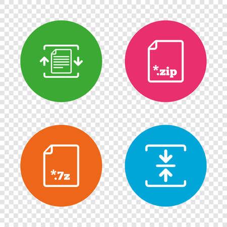 ファイルのアイコンをアーカイブします。圧縮の zip 形式の文書に署名。データ圧縮のシンボル。透明の背景上の丸いボタン。ベクトル