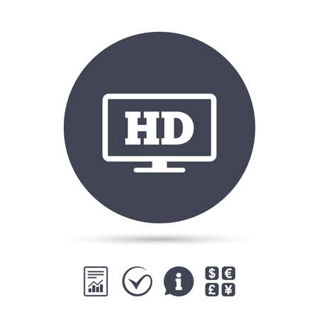 HD widescreen tv sign icon. High-definition symbol. Report document, information and check tick icons. Currency exchange. Vector Illustration