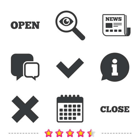 Open and Close icons. Check or Tick. Delete remove signs. Yes correct and cancel symbol. Newspaper, information and calendar icons. Investigate magnifier, chat symbol. Vector Stock Vector - 79789647