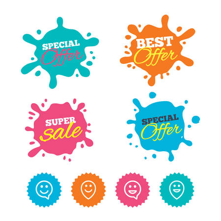 Best offer and sale splash banners. Happy face speech bubble icons. Smile sign. Map pointer symbols. Web shopping labels. Vector Illustration