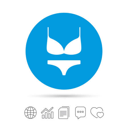 Women bra and panties sign icon. Intimates underwear symbol. Copy files, chat speech bubble and chart web icons. Vector