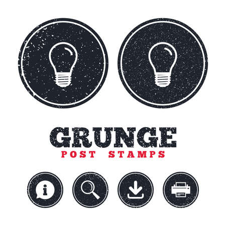 Grunge post stamps. Light bulb icon. Lamp E27 screw socket symbol. Led light sign. Information, download and printer signs. Aged texture web buttons. Vector