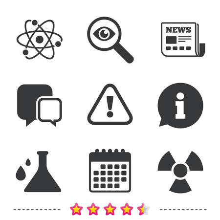 Attention and radiation icons. Chemistry flask sign. Atom symbol. Newspaper, information and calendar icons. Investigate magnifier, chat symbol. Vector Illustration