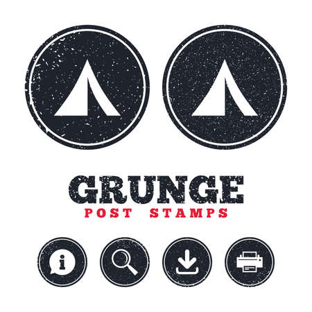 Grunge post stamps. Tourist tent sign icon. Camping symbol. Information, download and printer signs. Aged texture web buttons. Vector