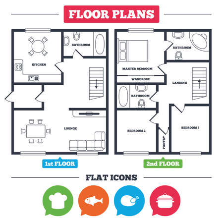 Architecture plan with furniture. House floor plan. Chief hat and cooking pan icons. Fish and chicken signs. Boil or stew food symbol. Kitchen, lounge and bathroom. Vector
