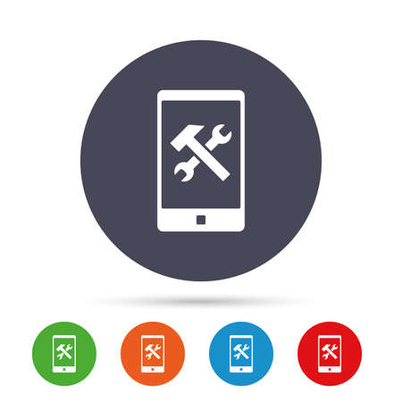 smartphone apps: Smartphone repair sign icon. Service symbol. Hammer with wrench. Round colourful buttons with flat icons. Vector