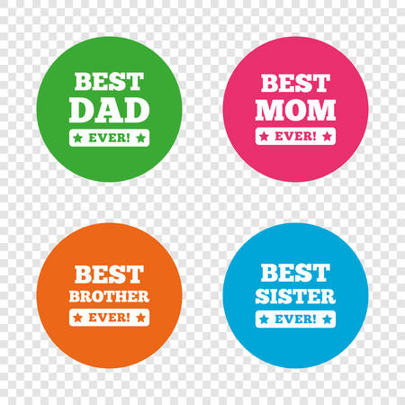 star award: Best mom and dad, brother and sister icons. Award with exclamation symbols. Round buttons on transparent background. Vector