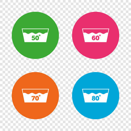 Wash icons. Machine washable at 50, 60, 70 and 80 degrees symbols. Laundry washhouse signs. Round buttons on transparent background. Vector