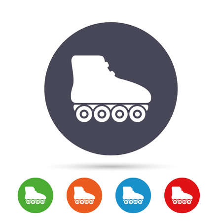 rollerblades: Roller skates sign icon. Rollerblades symbol. Round colourful buttons with flat icons. Vector