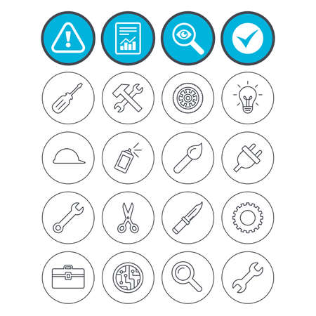 Report, check tick and attention signs. Repair tools icons. Hammer with wrench key, wheel and brush. Screwdriver, electric plug and scissors. Circuit board, magnifying glass and construction helmet