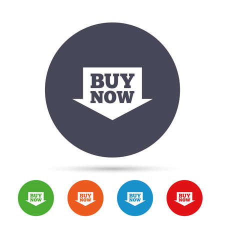Buy now sign icon. Online buying arrow button. Round colourful buttons with flat icons. Vector Stock Vector - 79789802