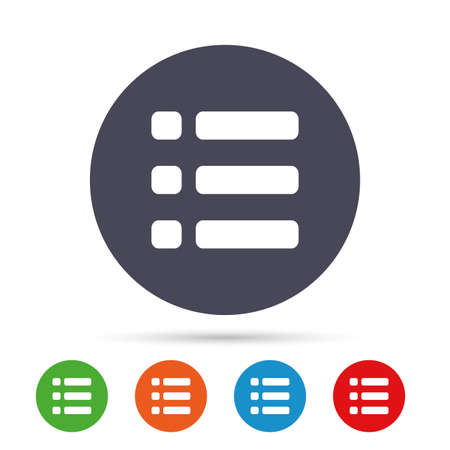 List sign icon. Content view option symbol. Round colourful buttons with flat icons. Vector Çizim