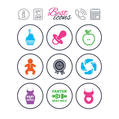 Information, report and calendar signs. Pregnancy, maternity and baby care icons. Apple, award and pacifier signs. Footprint, birthday cake and newborn symbols. Phone call symbol. Vector Illustration