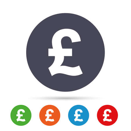 Pound sign icon. GBP currency symbol. Money label. Round colourful buttons with flat icons. Vector