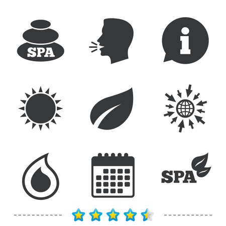 Spa stones icons. Water drop with leaf symbols. Natural tear sign. Information, go to web and calendar icons. Sun and loud speak symbol. Vector