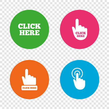 Click here icons. Hand cursor signs. Press here symbols. Round buttons on transparent background. Vector Illustration