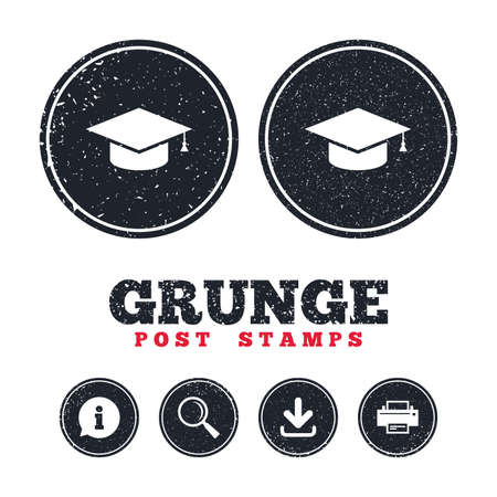 Grunge post stamps. Graduation cap sign icon. Higher education symbol. Information, download and printer signs. Aged texture web buttons. Vector