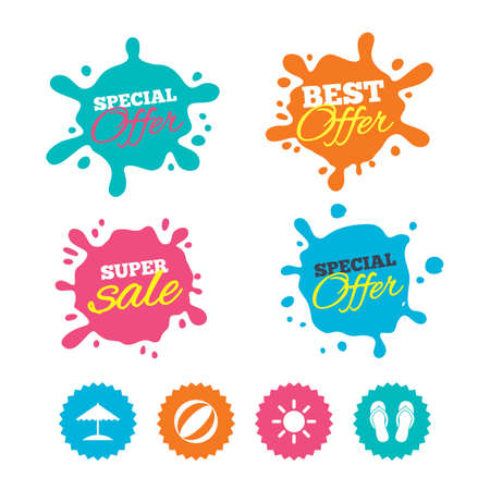 Best offer and sale splash banners. Beach holidays icons. Ball, umbrella and flip-flops sandals signs. Summer sun symbol. Web shopping labels. Vector