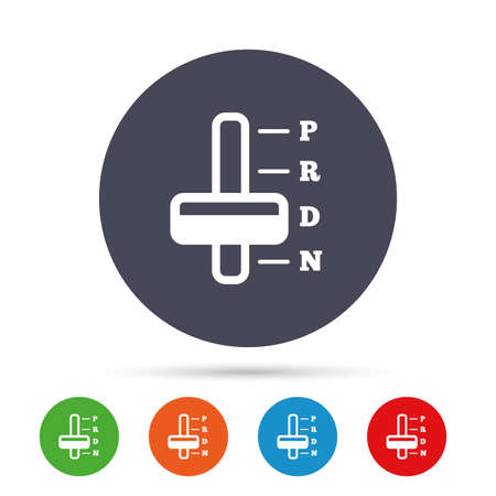 Automatisch transmissie teken icoon. Auto-auto-symbool. Ronde kleurrijke knoppen met platte pictogrammen. Vector