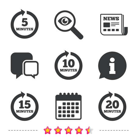 Every 5, 10, 15 and 20 minutes icons. Full rotation arrow symbols. Iterative process signs. Newspaper, information and calendar icons. Investigate magnifier, chat symbol. Vector