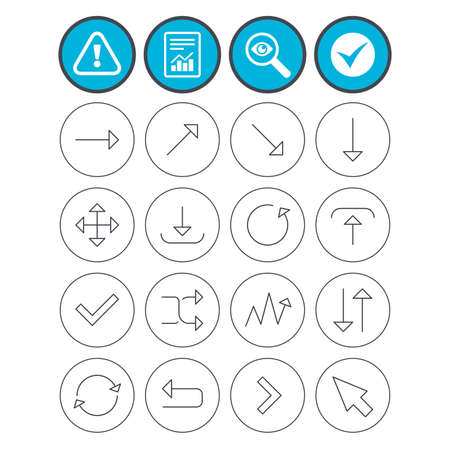 Report, check tick and attention signs. Arrows line icons. Download, upload, check or tick symbols. Refresh, fullscreen and shuffle thin outline signs. Investigate magnifier symbol. Flat buttons Illustration