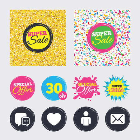 Gold glitter and confetti backgrounds. Covers, posters and flyers design. Social media icons. Chat speech bubble and Mail messages symbols. Love heart sign. Human person profile. Sale banners. Vector