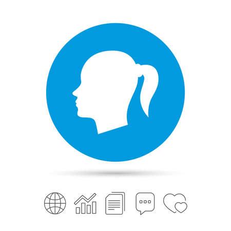 頭は記号アイコンです。女性頭部ピグテールのシンボル。ファイルのコピー、音声バブルとグラフ web アイコンをチャットします。ベクトル